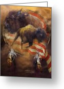 Buffalo Mixed Media Greeting Cards - American Buffalo Greeting Card by Carol Cavalaris