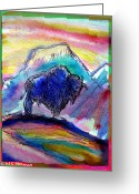 Buffalo Mixed Media Greeting Cards - American Buffalo Sunset Greeting Card by M C Sturman