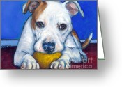 Dog Prints Greeting Cards - American Bulldog with Yellow Ball Greeting Card by Dottie Dracos