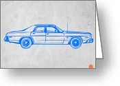 Funny Car Greeting Cards - American Car Greeting Card by Irina  March