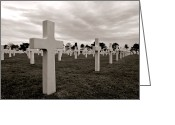 Historic Site Greeting Cards - American Cemetery in Normandy  Greeting Card by Olivier Le Queinec