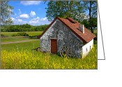Farmhouse Greeting Cards - American Country Farmhouse Greeting Card by Olivier Le Queinec