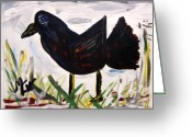 Outsider Art Drawings Greeting Cards - American Crow Greeting Card by Mary Carol Williams