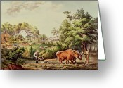 Daily Life Greeting Cards - American Farm Scenes Greeting Card by Currier and Ives