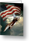 Jet Greeting Cards - American Feedom  Greeting Card by Gina Femrite