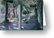 Patriotism Painting Greeting Cards - American Flag Greeting Card by Aleksandra Buha