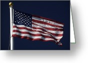 Flag Day Greeting Cards - American Flag Flying In Lexington Greeting Card by Tim Laman