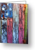 Folk Art Greeting Cards - American flag gate Greeting Card by Garry Gay
