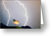 Lightening Storm Greeting Cards - American Flag Lightning Strikes Greeting Card by James Bo Insogna