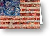 Bold Greeting Cards - American Flag - Made From Vintage Recycled Pop Culture USA Paper Product Wrappers Greeting Card by Design Turnpike