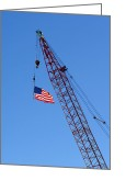 Crane Greeting Cards - American Flag on Construction Crane Greeting Card by Olivier Le Queinec