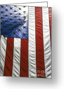Flag Day Greeting Cards - American flag Greeting Card by Tony Cordoza