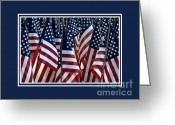 United We Stand Greeting Cards - American Flags Greeting Card by Nancy Greenland