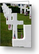 Veteran Photography Greeting Cards - American Flags Rest In Front Greeting Card by Stocktrek Images
