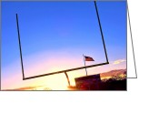 Football Photo Greeting Cards - American Football Goal Posts Greeting Card by Olivier Le Queinec