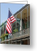 United States Flag Greeting Cards - American French Quarter Greeting Card by Lauri Novak