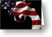 Flag Greeting Cards - American Gun Greeting Card by Gerard Yates