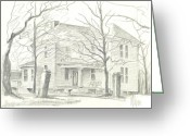 Happy Drawings Greeting Cards - American Home II Greeting Card by Kip DeVore