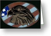 Independence Day Glass Art Greeting Cards - American Independence Day Greeting Card by Jim Ross