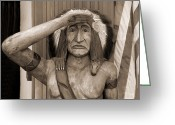 Flag Pyrography Greeting Cards - American Indian Greeting Card by Cathy Kovarik