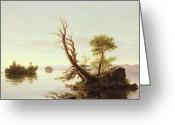 Cole Painting Greeting Cards - American Lake Scene Greeting Card by Thomas Cole