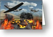 Bizarre Digital Art Greeting Cards - American P-51 Mustang Fighter Planes Greeting Card by Mark Stevenson