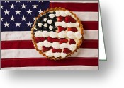 Food And Beverage Greeting Cards - American pie on American flagAmerican pie on American flagAmer Greeting Card by Garry Gay