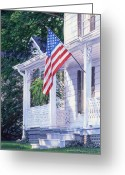 Patriotism Painting Greeting Cards - American Porch Greeting Card by Gloria Johnson