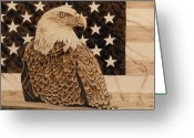 Flag Pyrography Greeting Cards - American Pride Greeting Card by Nedra  Denison