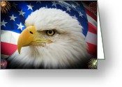 Red White And Blue Mixed Media Greeting Cards - American Pride Greeting Card by Shane Bechler