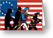 Uniform Greeting Cards - American revolutionary soldier marching Greeting Card by Aloysius Patrimonio