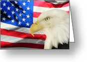 Red White And Blue Greeting Cards - American Greeting Card by Shane Bechler