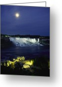 Tourists And Tourism Greeting Cards - American Side Of Niagara Falls, Seen Greeting Card by Richard Nowitz