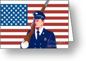 March Greeting Cards - American soldier flag Greeting Card by Aloysius Patrimonio