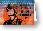 Male Greeting Cards - American soldier military serviceman Greeting Card by Aloysius Patrimonio