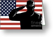 Uniform Greeting Cards - American Soldier salute Greeting Card by Aloysius Patrimonio