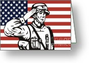Stars And Stripes.   Greeting Cards - American soldier saluting flag Greeting Card by Aloysius Patrimonio