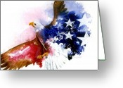 Stars And Stripes Mixed Media Greeting Cards - American Spirit Greeting Card by Sherry Shipley