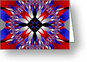 4th July Digital Art Greeting Cards - American Starburst Mandala Greeting Card by Patricia Fatta
