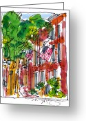 Old Street Drawings Greeting Cards - American Street Philadelphia Greeting Card by Marilyn MacGregor