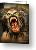 Wolfman Greeting Cards - American Werewolf Greeting Card by Paul Ward