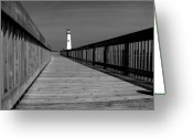 Mitic Greeting Cards - American Wood Way Black and White Greeting Card by Marko Mitic