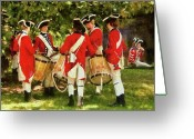 Drummer Greeting Cards - Americana - People - Preparing for battle Greeting Card by Mike Savad