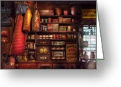 Merchant Greeting Cards - Americana - Store - The local grocers  Greeting Card by Mike Savad