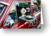 Ice Skates Greeting Cards - Americana - The Car Hop Greeting Card by Paul Ward