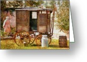 Cart Greeting Cards - Americana - The Milk and Egg wagon  Greeting Card by Mike Savad
