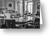 Found Greeting Cards - Americana - 1950 Kitchen - 1950s - retro kitchen Black and White Greeting Card by Paul Ward