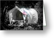 Reminiscing Greeting Cards - Americana Covered Wagon Greeting Card by Cindy Wright