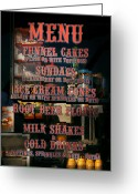 Carnie Greeting Cards - Americana - Food - Menu  Greeting Card by Mike Savad