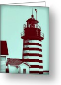 Lighthouse Home Decor Greeting Cards - Americana Lighthouse Greeting Card by Tony Grider